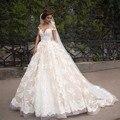 Líbano arábia Saudita Vestidos de Casamento Rendas Peru 2016 vestido de Baile fora Do Ombro Capela Trem Applique Lace Robe de mariage 2017