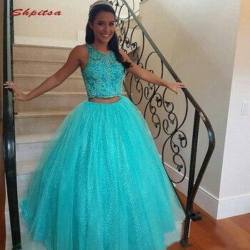 58fa50acf6db976 Из двух частей Бальные платья бальное платье бисером выпускного вечера  дебютантка шестнадцать сладкий 16 vestidos de 15 anos
