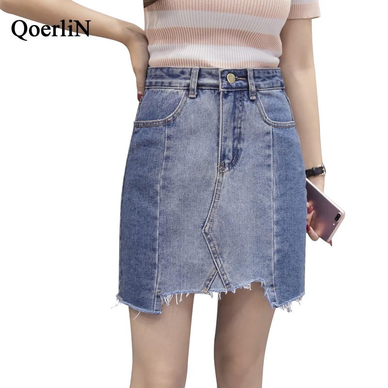 QoerliN Jeans Skirts Women Autumn New Arrivals High Waist Denim Skirt Female Plus Size Vintage Ripped Fashion Womans Clothing