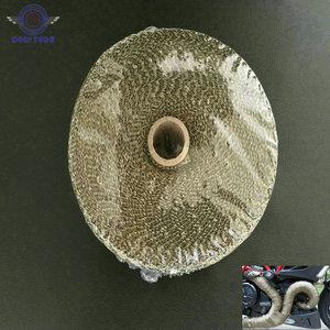 Image 1 - 2x50Ft Titanium  Motorcycle Exhaust Pipe Wrap Auto Exhaust Manifold Heat Resistant Wrap 8 Pcs Cable Ties