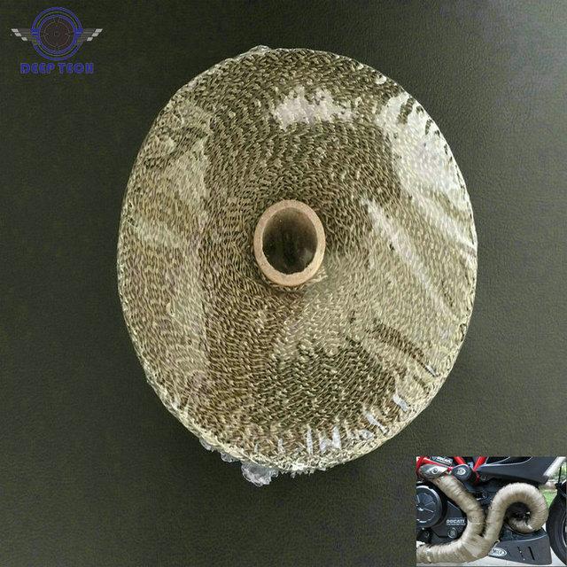 2x50Ft Titanium  Motorcycle Exhaust Pipe Wrap Auto Exhaust Manifold Heat Resistant Wrap 8 Pcs Cable Ties