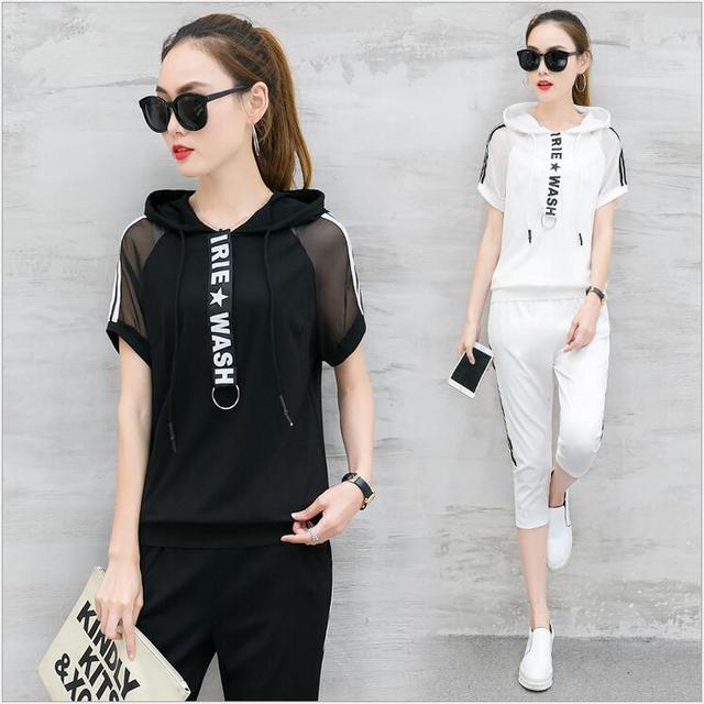 68494223e € 25.4 |2017 verano nuevos de manga corta con capucha floja Coreana  movimiento traje femenino pantalones pantalones de hilo de dos conjuntos de  ...