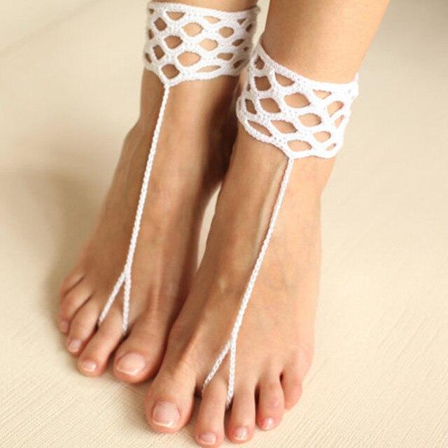 Weiß Crochet Barfuß Sandale Häkeln Fußkettchen Häkeln Schuhe