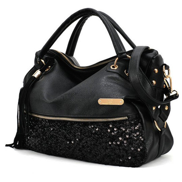 Portable Big Capacity Fashionable Ladies PU Leather Bag Handbag Shoulder Bag for Daily Use Leopard Appliques Decoration 2017 Hot