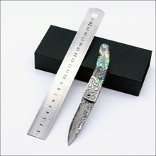 VG10 Damascus steel pocket knives outdoor camping knife folding with cupronickel patterns handle gift case