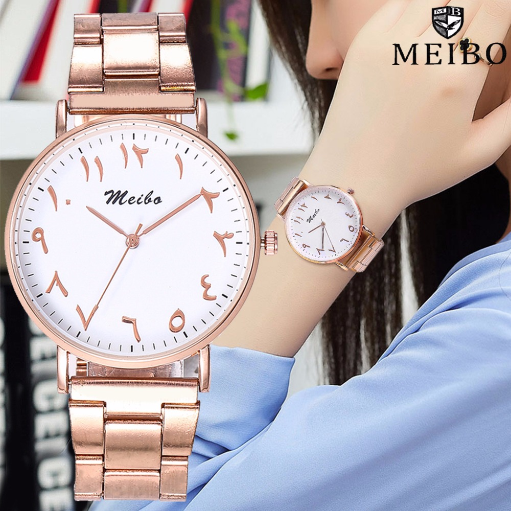 MEIBO Brand Fashion Rose Gold Stainless Steel Arabic Numbers Watches Casual Women Quartz Wrist Watches Relogio Feminino Hot