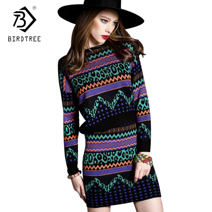 2018 Women Knitted Sweaters Skirts 2pcs Suits Long Sleeves Waved Pattern Black Female Woman Sweater Tops+Skirt Sets Hots S7D620L