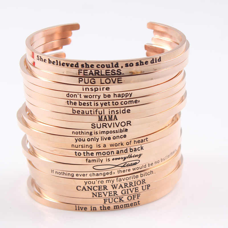 Hot Sell Rose Gold Color Mantra Bracelet Inspirational Stainless Steel Engraved Bangle For Women Luxury High Quality Jewelry