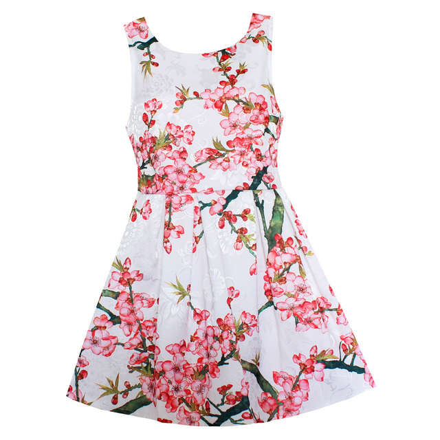 Shybobbi fashion flower dress girls pink plum blossom vestidos ropa ...