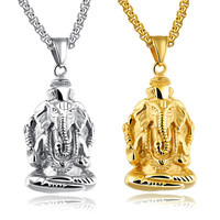 LINSOIR 2017 New Gold Silver Color Animal Elephant Necklace Pendant For Men 316L Stainless Steel Long