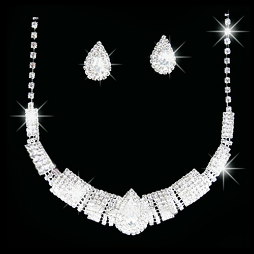 New Unusal Wedding Bridal Crystal Rhinestone Bib Statement Necklace Earrings Jewelry Set 7FNQ 873D