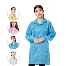 Unisex Medical Clothing Dustproof Anti-static Clothes Work Wear Coat Long Sleeve Men Women Working Uniform -MX8