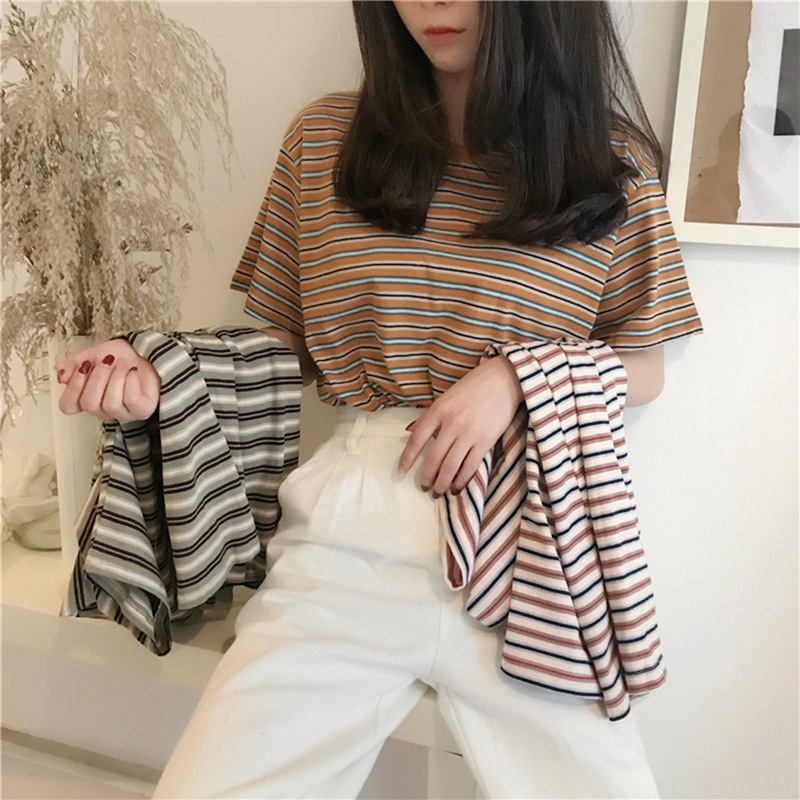 Pretty Girls ShortSleeve Grid Hot Drilling Rhinestone Casual Tops Stripe Shirts Perspective Handsome Korean Top корейский стиль