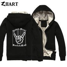 Chain Hand Gesture Heavy Metal Rock N Roll Corna Devils Horns Sign Girls Woman Full Zip Autumn Winter Plus Velvet Parkas ZIIART