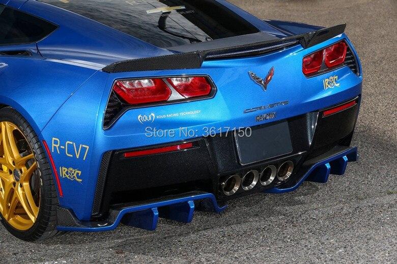 Diseñado para Corvette C7 Z51 la fibra de carbono 2 unidades RX estilo fibra de carbono trasero difusor labio trasero/