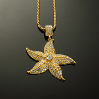 Wholesale Hip Hop Chain Jewelry Gold Iced Out Bling Set Drill Rock 18K Gold Plated Starfish