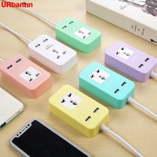 Fast Charging 2 USB Ports Universal Power Strip Travel Portable Charger Extension Cord Socket US Plug with UK AU EU Adapter