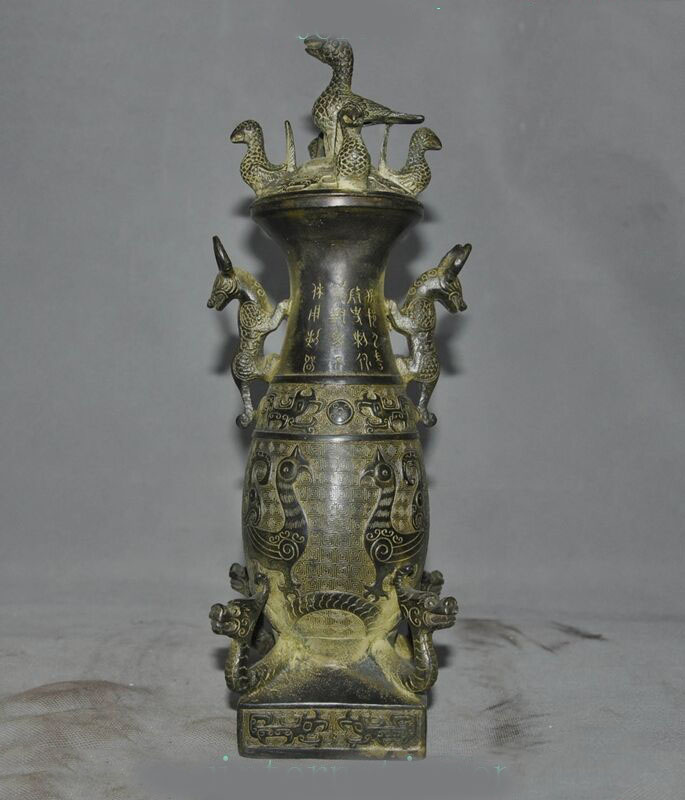 wedding decoration old Chinese Dynasty Bronze dragon beast phoenix bird statue Zun Bottle Pot Tankswedding decoration old Chinese Dynasty Bronze dragon beast phoenix bird statue Zun Bottle Pot Tanks