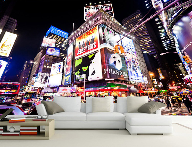 Custom 3D Wall Murals New York Times Square Wallpaper City Photo Wallpaper  Boys Kids Room Decor Interior Design Bedroom Home Art In Wallpapers From  Home ... Part 97