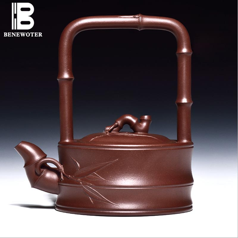 540ml Yixing Hot Selling Beam Lifting Pot Purple Mud Teapot Double Section Beam Xi Shi Tea Pot Effort Chinese Tea Set 14 Holes