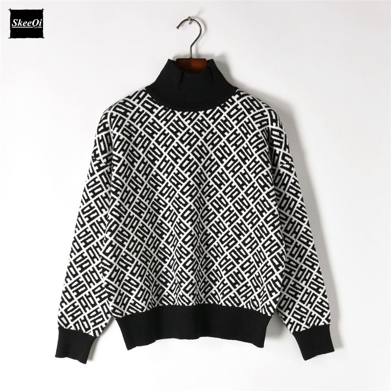 2018 New Fashion Sweater Female Pullovers Geometric Turtleneck Color Block Knitted Sweaters Pullover Runway Designer Tops Jumper