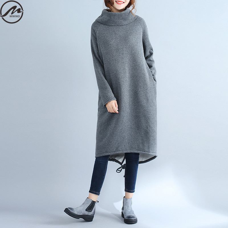 MIWIMD Big Size Women s Autumn Dresses 2017 New Fashion Casual Loose Solid Color Long Sleeved