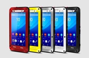 Image 5 - Miłość Mei potężny futerał do Sony Xperia Z3 odporny na wstrząsy silikonowy Metal aluminium tylna pokrywa ze szkłem hartowanym do Xperia Z4/E6533
