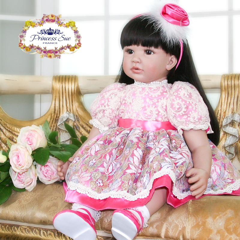 60cm Silicone Reborn Baby Doll Toys 24inch Vinyl Princess Toddler Girl Babies Doll High Quality Birthday Gift Play House Toy 60cm silicone vinyl reborn girl baby doll toys 24inch princess toddler babies dolls child fashion birthday gift play house toy