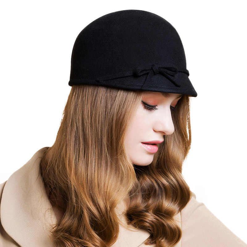 603998e7883 ... FS Vintage 100% Wool Fedora Floppy Bowknot Winter Felt Hats For Women  Grey Black Navy ...