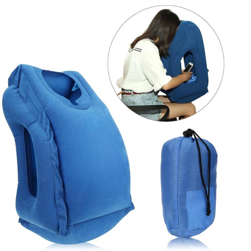 De Viaje inflable almohada de oficina de aire almohada de viaje portátil innovador cuerpo apoyo plegable golpe para proteger el cuello almohada