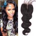 Полный плотность 7а класс виргинский индийский закрытие волос отбеленными узлами 4 * 4 объемная волна / средний / 3 часть ClosuresWwith детские волосы