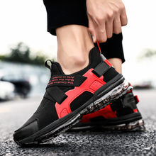 Rommedal men's air cushion running shoes air mesh soft flat sneakers breathable slip-on casual shoes individual tide footwear