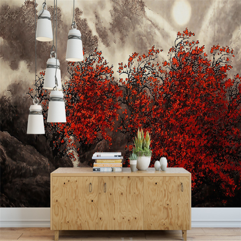 custom 3d photo wallpaper wall 3d murals wallpaper red leaves landscape painting background wall home decor for study room custom 3d photo wallpaper murals hd cartoon mushroom room children s bedroom background wall decoration painting wall paper