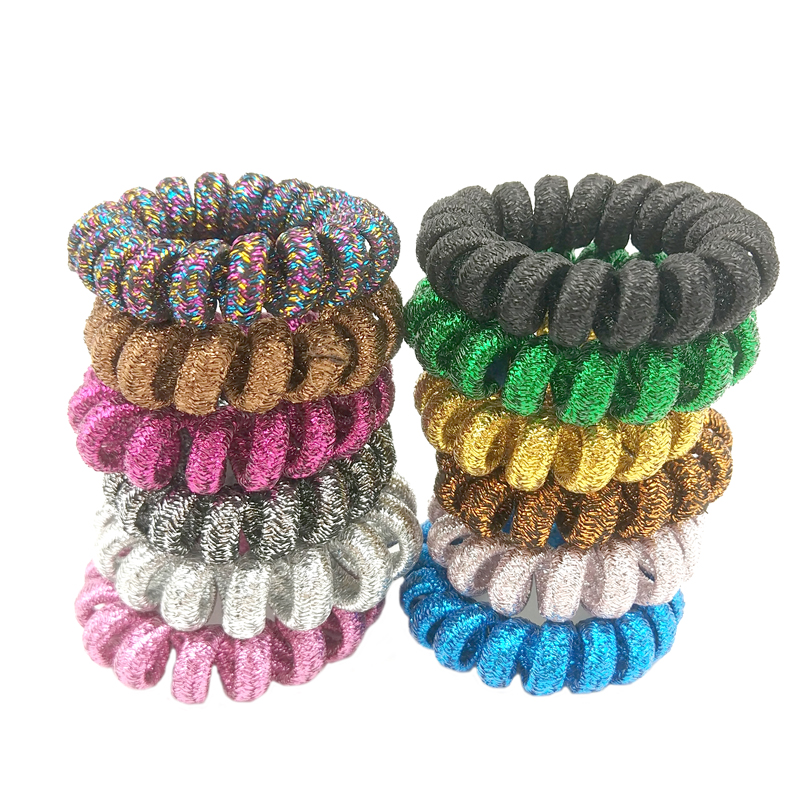 Lot 3 Pcs Random Color Telephone Wire Band Wrapped Fabric Ponytail Holder Elastic Phone Cord Hair Tie Accessories Size 4CM