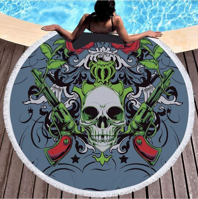 INDIAN SKULL ROUND BEACH TOWEL (3 VARIAN)