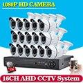 16CH 1080 P AHD DVR KIT 16 unids Bala AHD Cámara de 2MP 36 * Leds IR de Visión Nocturna de interior Al Aire Libre Sistema de Vigilancia de Seguridad AHD Kits