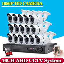 16CH 1080P AHD DVR KIT+16pcs Bullet AHD Camera 2MP Outdoor indoor 36*Leds IR Nightvision AHD Security System Surveillance Kits