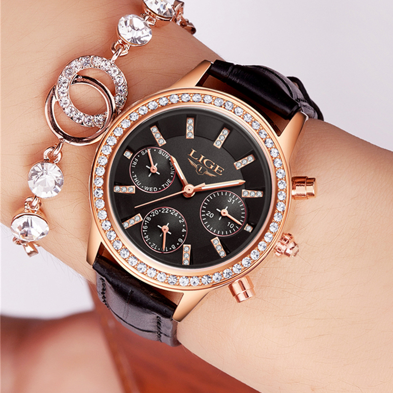 Relogio Feminino LIGE Luxury Brand Women Watches Fashion Leather Dress Quartz Watch Ladies Waterproof Simple Casual Wrist Watch silver diamond women watches luxury brand ladies dress watch fashion casual quartz wristwatch relogio feminino