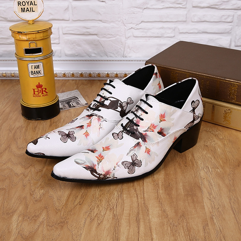 Classic elegant mens pointed toe dress shoes high heels white print genuine leather lace up oxford mocassin homme male shoes Classic elegant mens pointed toe dress shoes high heels white print genuine leather lace up oxford mocassin homme male shoes
