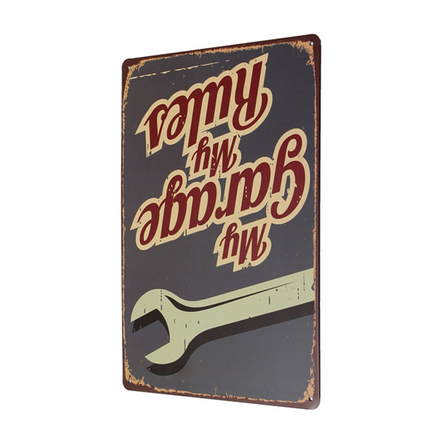 My Garage My Rules Lettering Vintage Tin Sign