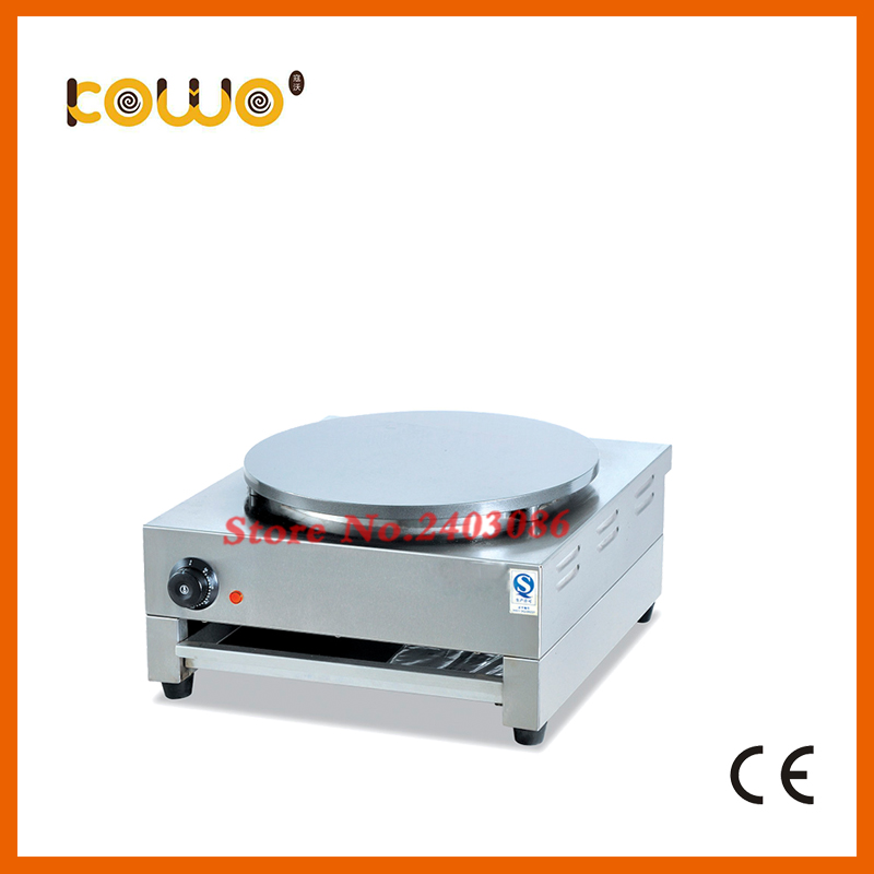 commercial stainless steel single plate pancake making machine non stick French crepe maker machine electric type 40cm eu plug gas type crepe maker machine pancake maker commercial scones making machine non stick coating pan