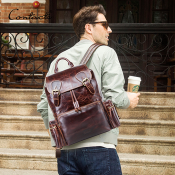"CONTACT'S men's backpack crazy horse leather 13.3"" laptop bag vintage daypacks male travel bags mochilas  cowhide mens bagpack"