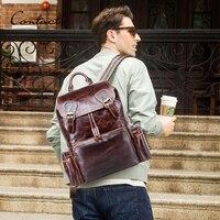 Мужской рюкзак crazy horse кожаная сумка для ноутбука винтажные daypacks большой дорожные сумки mochilas повседневные теплые водонепроницаемые человек