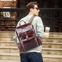 men's backpack crazy horse leather laptop bag vintage daypacks large travel bags mochilas casual cowhide waterproof man bagpacks
