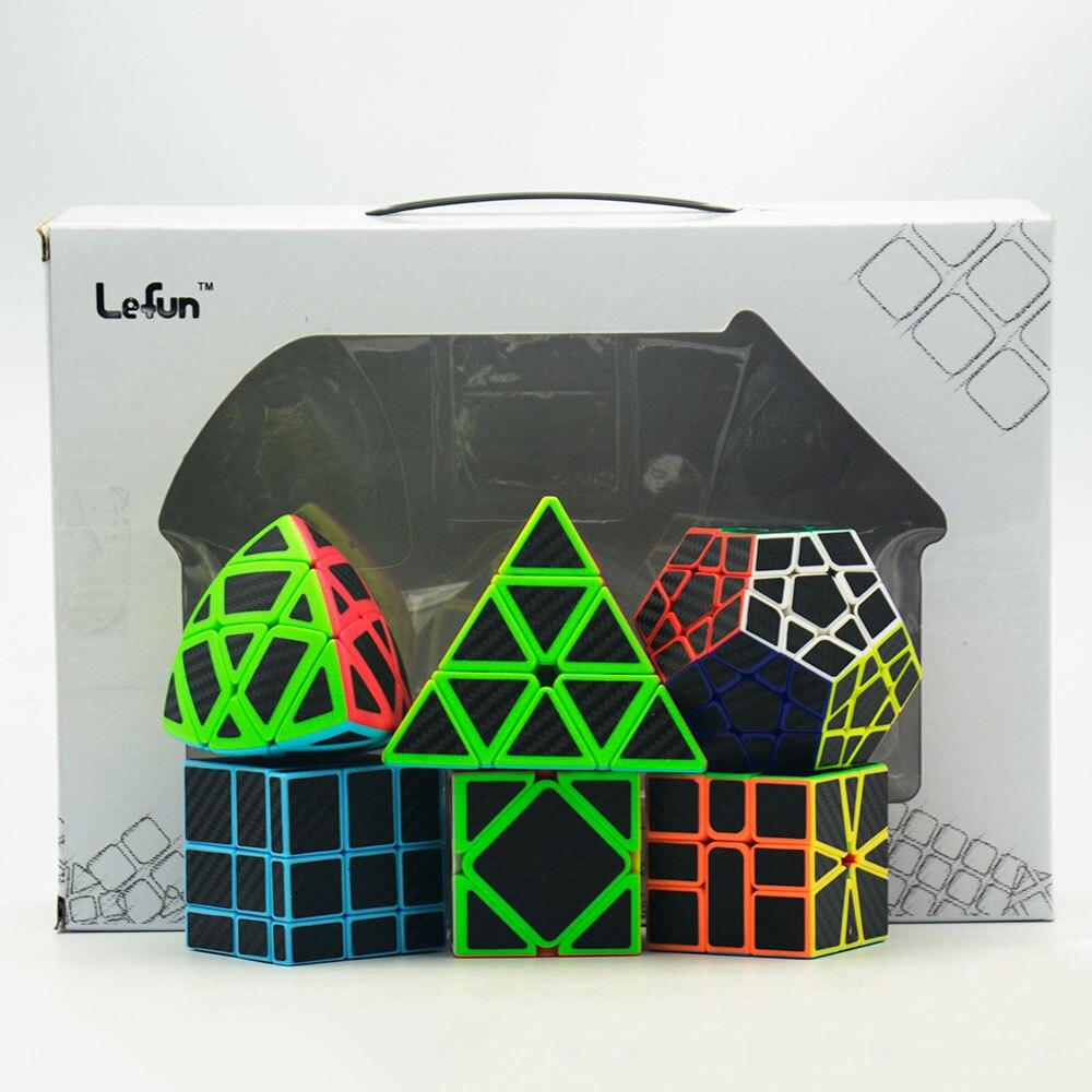 6 pièces/ensemble Lefun Magique Cube Mastermorphix + SQ-1 + Megamin + Miroir Bloc + Pyramin + Biais Noir autocollant Rubiks Cube - 6