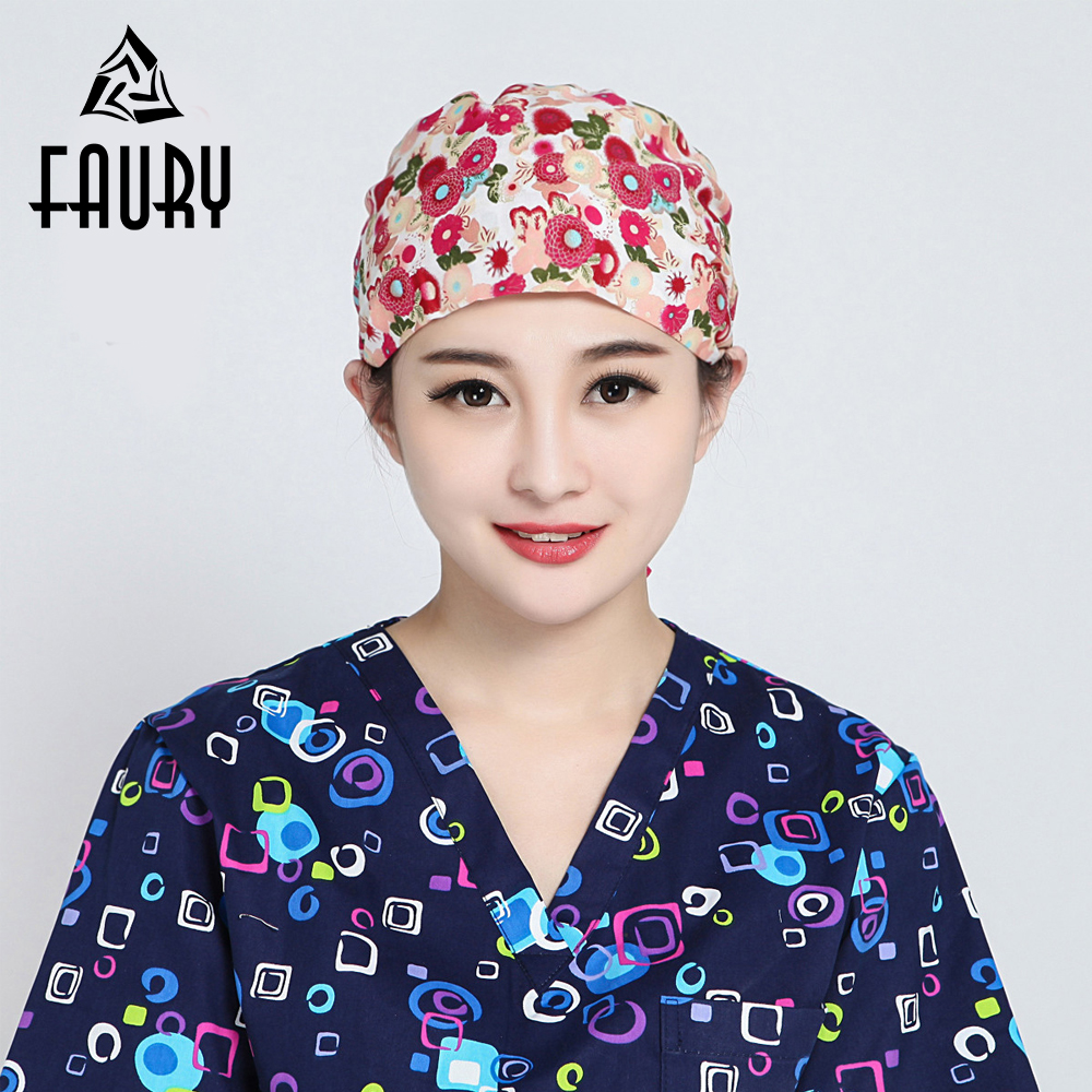 Women Flowers Printed Scrub Cap Masks Nurse Doctor Surgical Hospital Adjustable Medical Caps Scrub Lab Clinic Dental Hat+Mask