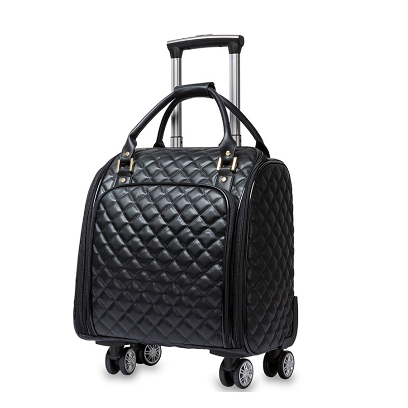 16Inch Travel Bag With Wheel Spinner Leather Suitcase Carry On Travel Trolley Bag/Case Cabin Handbag Luggage For Ladies Backpack