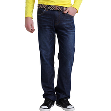 Lesmart мужские деловые свободного покроя мода твердых чистого хлопка проветривайте прямые джинсы долго уменьшают подходящие брюки отдых джинсовые брюки