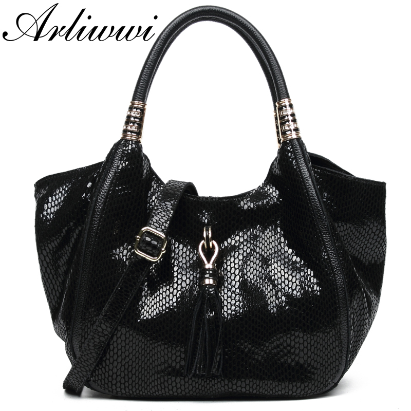 Arliwwi Brand Designer Female Real Leather Black Tote Handbags Shiny Snake Pattern Embossed Women Genuine Leather