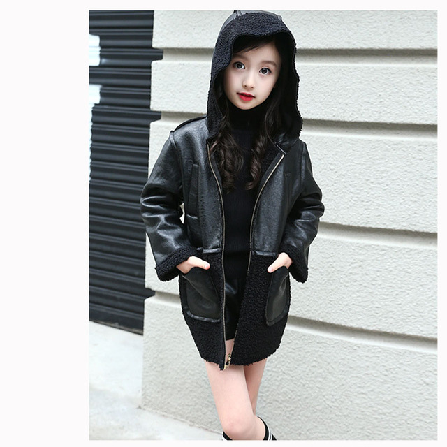 76f16c8c4 PU fur patchwork girls leather jackets and coats children outerwear ...